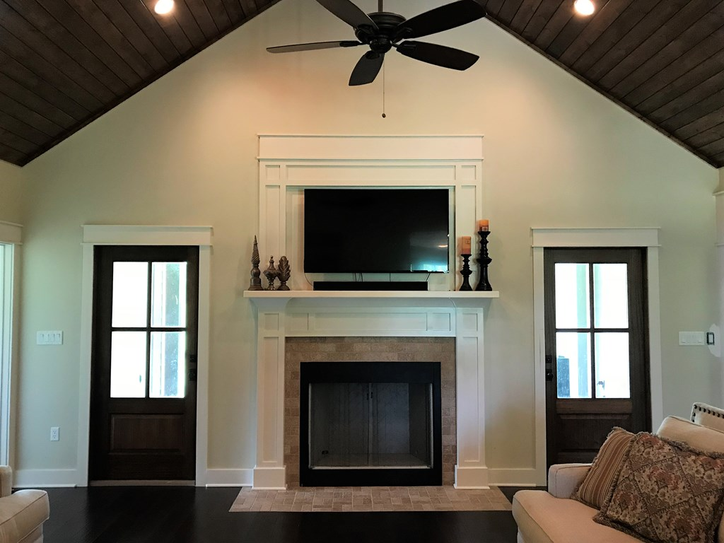 Great room with Vaulted wood ceiling